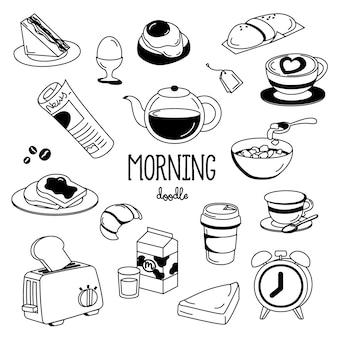 Estilos de desenho de mão coisas da manhã. doodle de manhã.