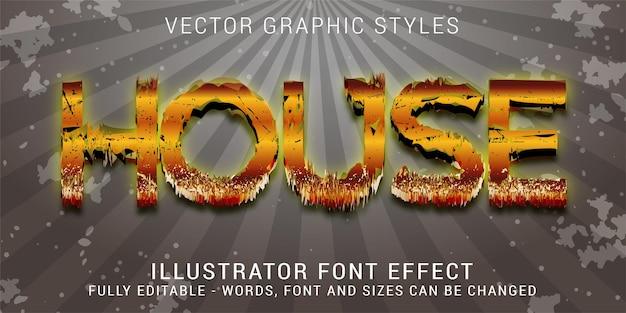 Estilos gráficos criativos de casa dourada, efeito de texto editável