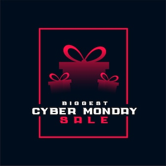 Estiloso maior banner de caixa de presente de venda de segunda feira virtual