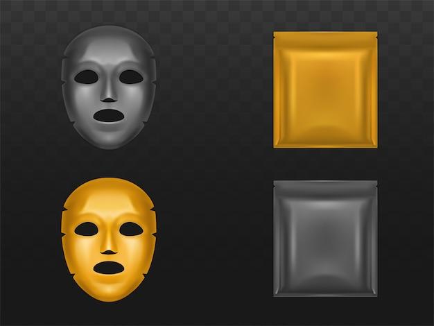Estique a máscara de folha de ouro na bolsa de plástico selada em branco