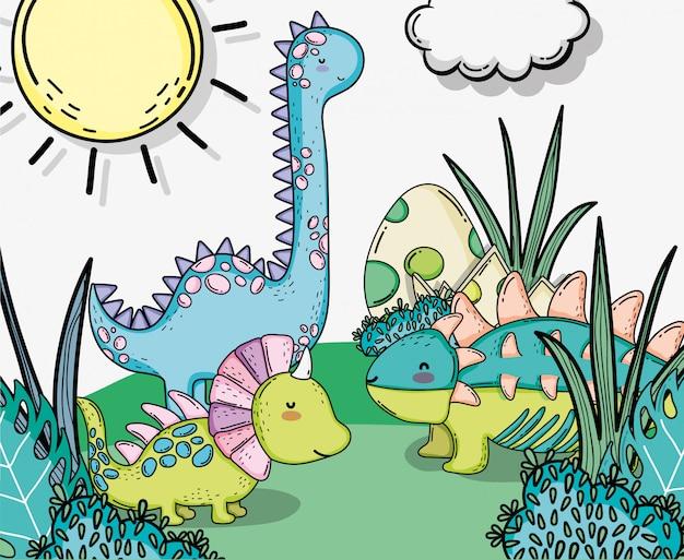 Estiracossauro bonito com ankylosaurus e diplodocus animais