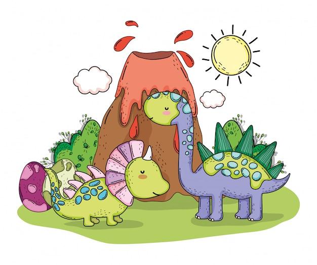 Estiracossauro e estegossauro pré-histórico dino animais