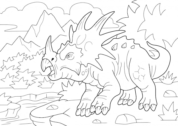 Estiracossauro pré-histórico de dinossauro com chifres, livro para colorir, ilustração engraçada
