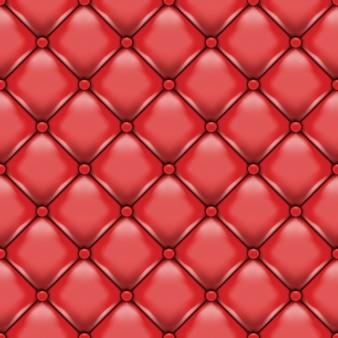 Estofamento em couro vermelho.