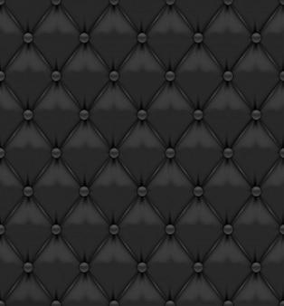 Estofos em pele preta com botões