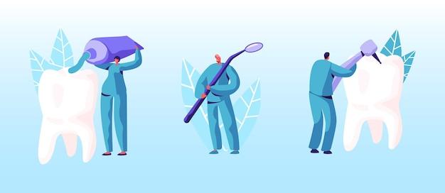 Estomatologia, conceito de odontologia. ilustração plana dos desenhos animados