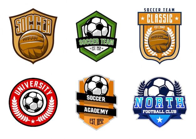 Estoque de futebol ou conjunto de distintivos de futebol
