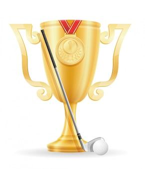 Estoque de ouro do vencedor da taça de golfe.