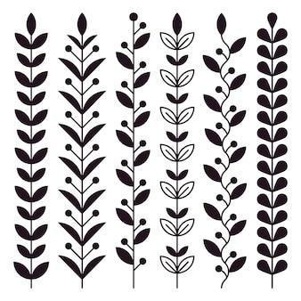 Estoque de ramos gráficos com folhas e grãos.