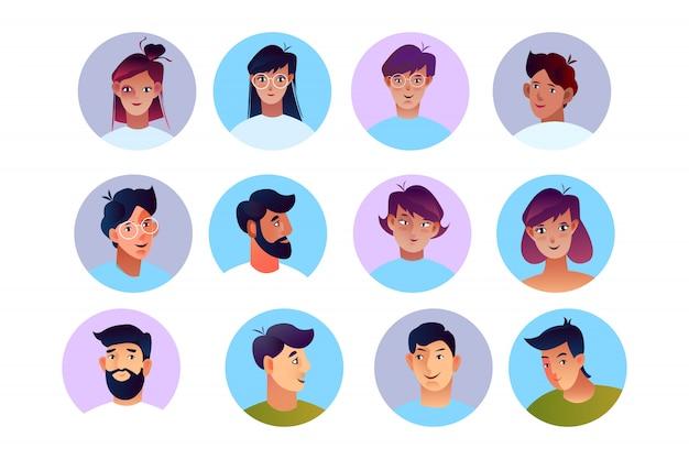 Estoque de vetor conjunto de avatares de pessoas em estilo simples. rostos de homens e mulheres em círculos isolados no branco