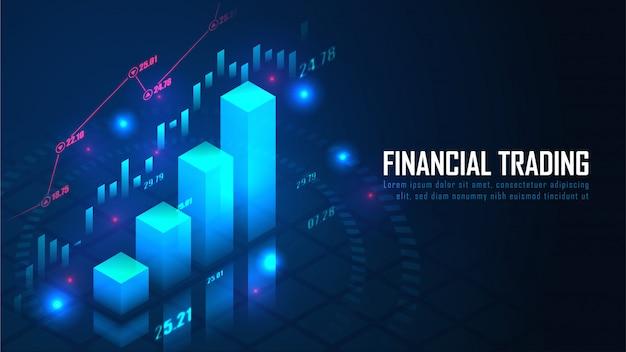Estoque isométrico ou gráfico de negociação forex em design de conceito futurista
