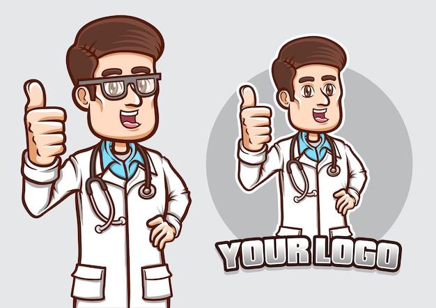 Estoque vetor sorridente médico mostra sua pose de polegar isolada ilustração