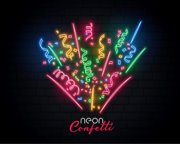 Estourando confete de néon de celebração