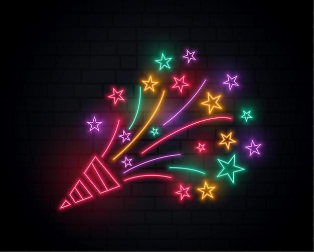Estourando confetes de néon do design de festa de aniversário de boné