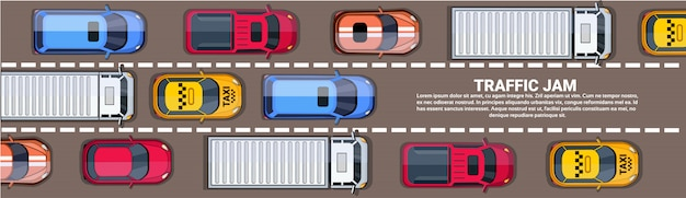 Estrada cheia de diferentes carros vista de ângulo superior de engarrafamento na estrada banner horizontal