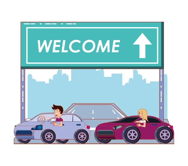 Estrada com design de ilustração vetorial bem-vindo rótulo