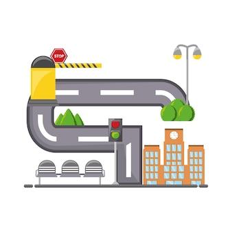 Estrada com ícone de elementos da cidade
