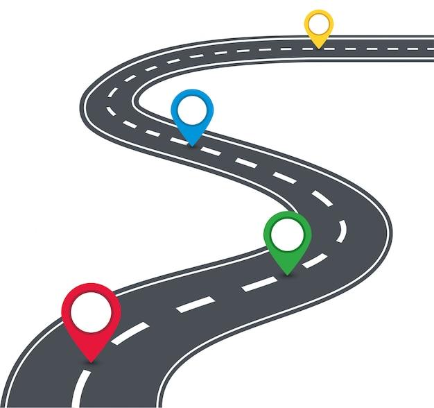 Estrada com marcadores. ilustração vetorial