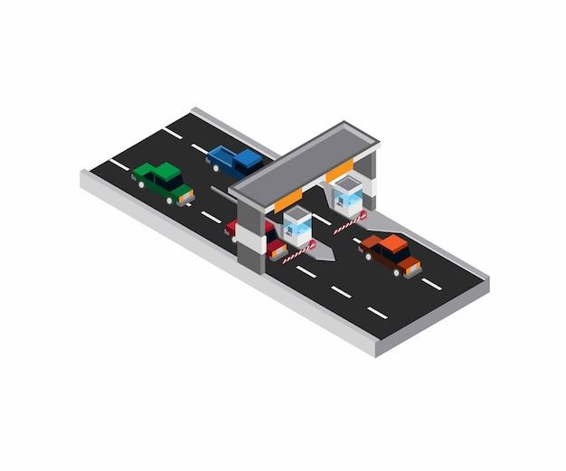 Estrada com pedágio - ilustração isométrica de pagamento de estacionamento de saída