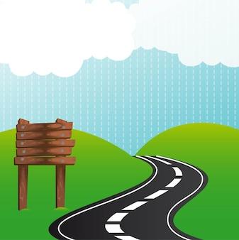 Estrada com sinal de madeira sobre ilustração vetorial de montanhas