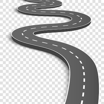 Estrada curvada de enrolamento. rodovia com marcações.