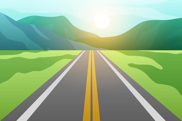 Estrada de asfalto com campos e montanhas com pôr do sol. ilustração vetorial