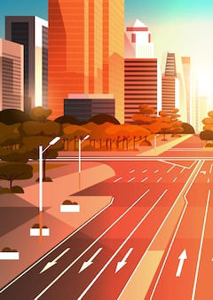 Estrada de asfalto com marcação de sinais de trânsito de setas