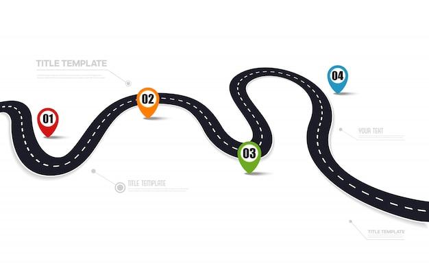 Estrada de asfalto com pontos do mapa, modelo infográfico