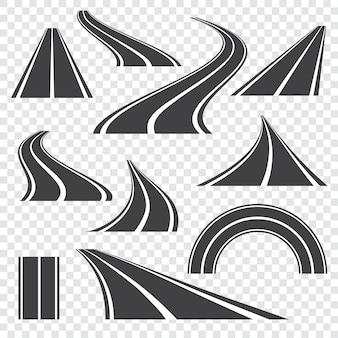 Estrada de asfalto. rodovia em perspectiva curva com marcações. conjunto de ícones.
