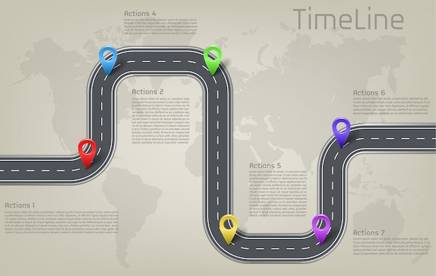 Estrada de carro corporativo da empresa no marco do mapa do mundo, timeline layout de apresentação de negócios