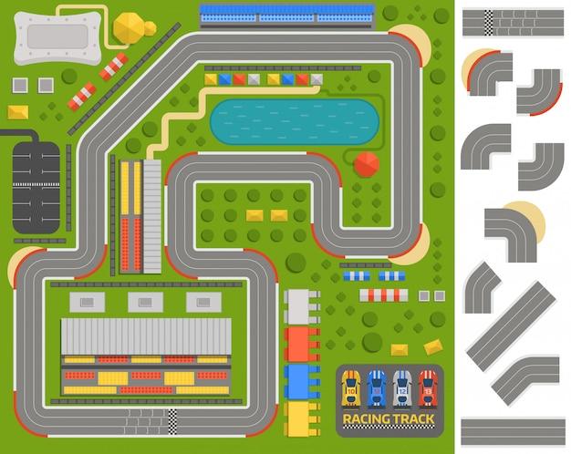 Estrada de curva de pista de corrida