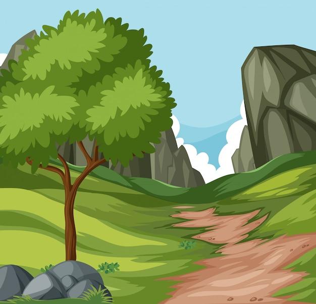 Estrada de natureza plana para a colina