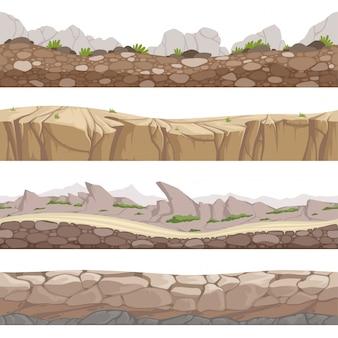 Estrada de pedra sem emenda. jogo rochoso s com vários tipos de pedras cartum coleção