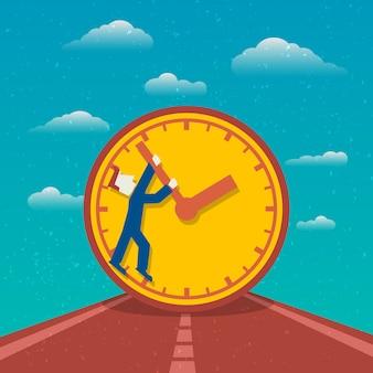 Estrada de planejamento de dia de gerenciamento de tempo para o cartaz de sucesso com relógio e homem personagem de desenho animado ilustração vetorial plana