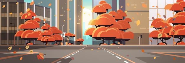 Estrada de rua vazia com faixa de pedestres edifícios urbanos arquitetura moderna paisagem urbana de outono