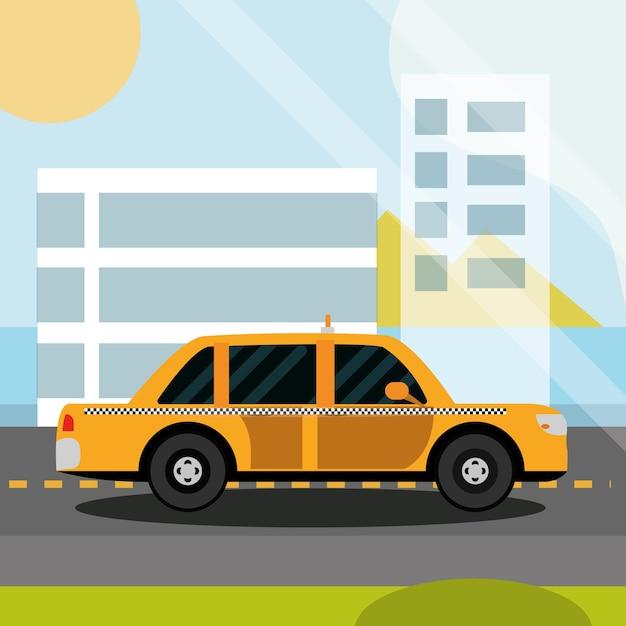 Estrada de táxi de serviço de táxi sobre a paisagem urbana da cidade, ilustração de transporte da cidade