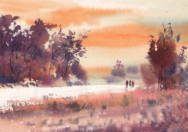 Estrada de uma vila pintura em aquarela