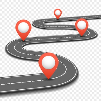 Estrada do carro, rua, projeto do infographics do roteiro do negócio da estrada. caminho e plano de direção com pinos vermelhos