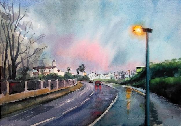 Estrada em aquarela na ilustração da paisagem da cidade
