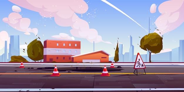 Estrada em vista de rua de paisagem urbana de construção