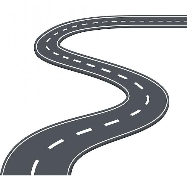 Estrada, estrada na ilustração vetorial de fundo branco