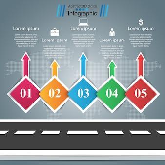 Estrada, infográfico de negócios. cinco itens
