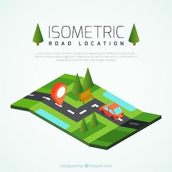 Estrada isométrica com um carro vermelho