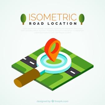 Estrada isométrica com uma lupa grande