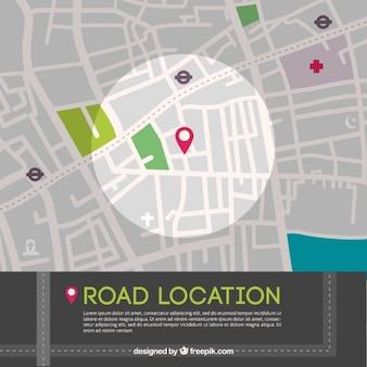 Estrada localização no mapa gráfico