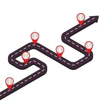 Estrada marco de negócios com ponteiros de mapa