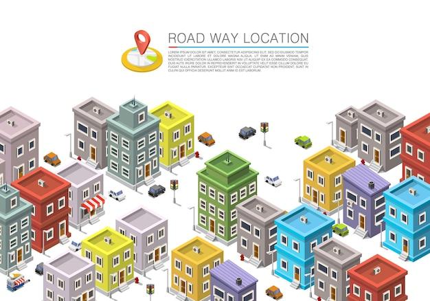 Estrada na paisagem urbana isométrica, apartamento em localização na cidade, de fundo vector