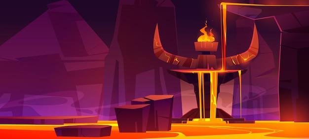 Estrada para o inferno, caverna infernal quente com fluxo de lava do altar com enormes chifres de pedra do diabo e fogo ardente no topo