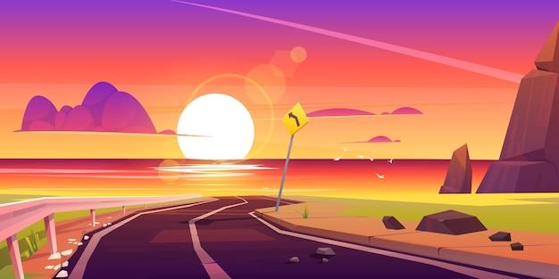 Estrada para o mar, praia, pôr do sol, paisagem, asfalto, caminho