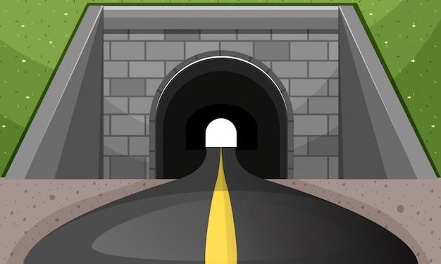 Estrada, passando, túnel